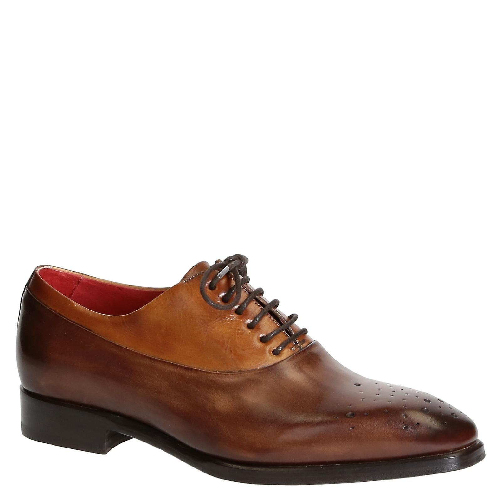 Handmade tan half brogue chaussures in genuine leather