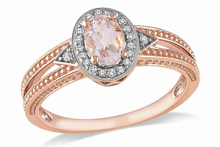 Affici Sterling Silver Halo Ring 18ct Rose Gold Plated ~ Oval Cut Morganite CZ Gem