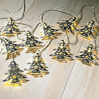 Sentik Indoor Silver Metal Tree String Fairy Lights with 15 Warm White LED's