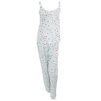Womens/Ladies Strappy Rose Pattern Nightwear Cami Top And Trousers Pyjama Set