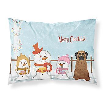 Merry Christmas Carolers Mastiff Brindle Fabric Standard Pillowcase