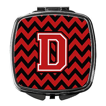 Letter D Chevron  Black and Red   Compact Mirror