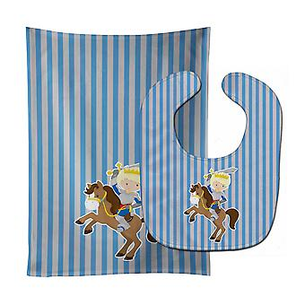 Carolines Treasures  BB8746STBU Blonde Boy Knight on Horse Baby Bib & Burp Cloth