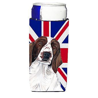 الكلب سبرينغر مع عوازل المشروبات الترا العلم البريطاني جاك الاتحاد الإنكليزي