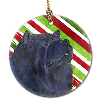 Chow Chow Candy Cane Holiday Christmas Ceramic Ornament SS4570