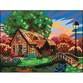 Collection D'Art Needlepoint Printed Tapestry Canvas 40X50cm-Cottage By The River CD10500