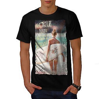 Uomini di vacanza di mare oceano ragazza BlackT-shirt | Wellcoda