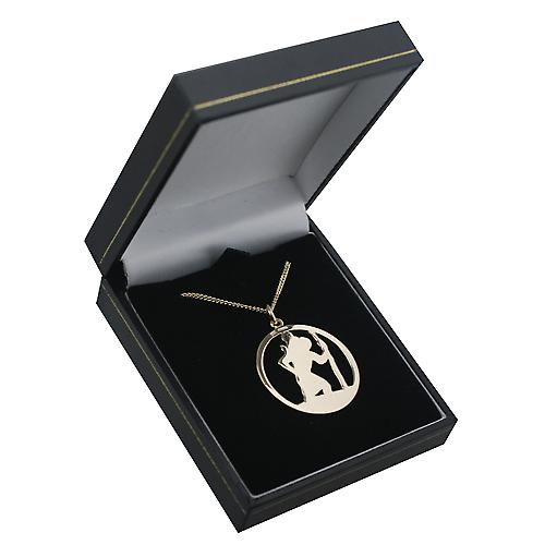 9ct Gold 30mm round cut out St Christopher Pendant with a curb Chain 16 inches Only Suitable for Children