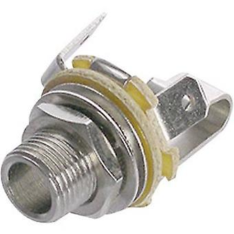 6.35 mm audio jack Socket, vertical vertical Number of pins: 2 Mono Silver Rean AV NYS 229 1 pc(s)
