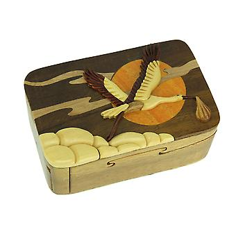 Hand Crafted Wood Stork Special Delivery Puzzle Trinket Box
