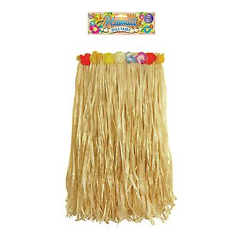 Hawaiian Hula Straw Grass Skirt with Flowers 60cm Fancy Dress Accessory