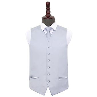 Silver Plain Satin Wedding Waistcoat & Tie Set