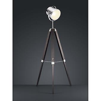 Trio Lighting Antwerp Vintage Black Natural Wood Floor Lamp