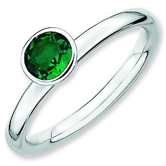 Sterling Silver Bezel Polished Rhodium-plated Stackable Expressions High 5mm Round Cr. Emerald Ring - Ring Size: 5 to 10