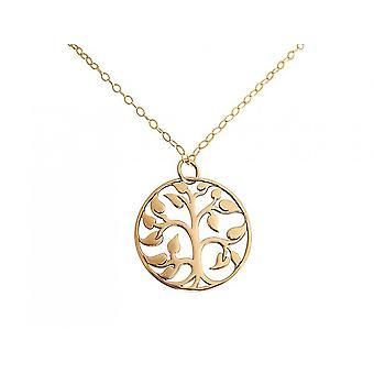 Collar de las señoras GEMSHINE con árbol de la vida. 2 cm 925 chapado en oro colgante de plata de un collar de 45 cm. En Madrid / España. Entregado en la joyería elegante con caja de regalo.