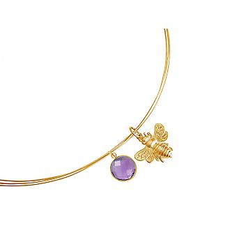 Gemshine - ladies - necklace - pendant - 925 Silver - gold plated - BEE - bee - Amethyst - violet - purple - 45 cm