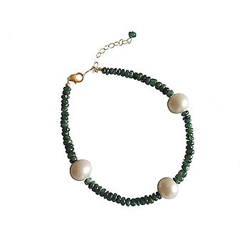 Gemshine - ladies - bracelet - gold plated - Emerald - Green - Pearl - White