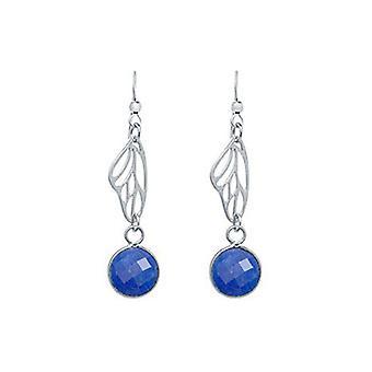 Sapphire earrings oorbellen 925 zilver - vlinder vleugels - sapphire - blauw - 4 cm