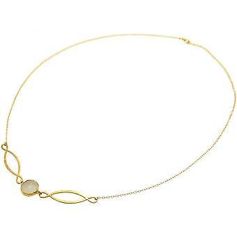 Damen - Halskette - Anhänger - INFINITY - 925 Silber - Vergoldet –- DRUZY - Weiß - Quarz - 55 cm