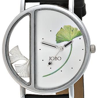 Men's watch with Ginkgo leaf stainless steel matte finish leaves 925 Silver leather strap