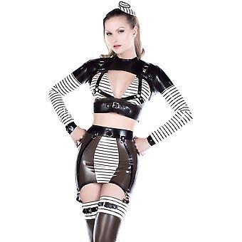 Vestpå bundet Madame Soigne nederdel bælte Trans sort med varm hvid Trim