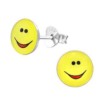 Smile Face - 925 Sterling Silver Colourful Ear Studs - W26410x
