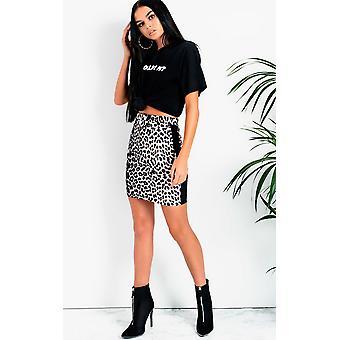 IKRUSH Womens Cece Leopard Side Stripe Skirt