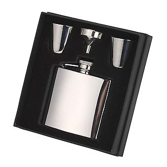 Orton West Steel Hip Flask and Cups Gift Set - Silver