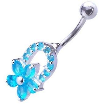 Bar Bauch Nabel Piercing 925 Sterling Silber, Körperschmuck, Blume Aquamarin