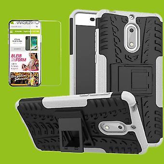 Voor Nokia 3.1 5.2 inch 2018 hybrid case tas 2 stuk wit + gehard glas gevaldekking van mouw nieuw