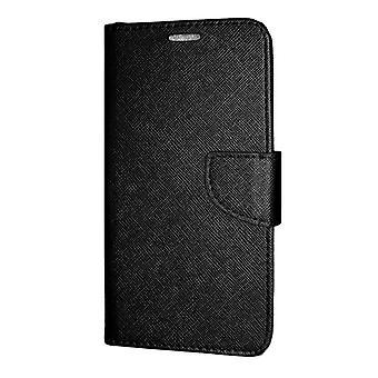 Samsung Galaxy J4 PLUS Wallet Pouch Fancy Case + Hand Strap Black