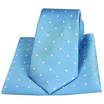 David Van Hagen Polka Dot Krawatte und Einstecktuch Set - blau/weiß