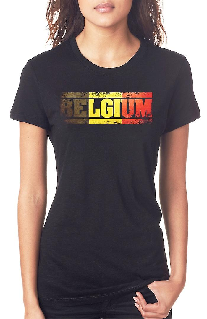 Belgian Belgium Flag - Words Ladies T Shirt