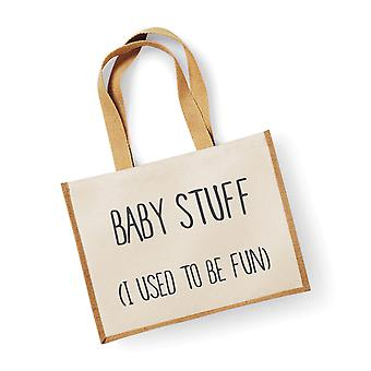 Large Jute Bag Baby Stuff I Used To Be Fun Natural