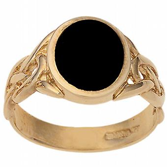 9ct Gold 14x12mm Onyx set oval Signet Ring Size X