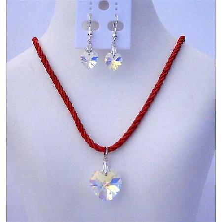 Swarovski Glittery AB Crystals HEART Pendant 18mm Necklace Set