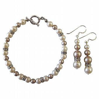 Bruiloft Bridal bruidsmeisje armband & oorbellen ivoor & Champagne parels