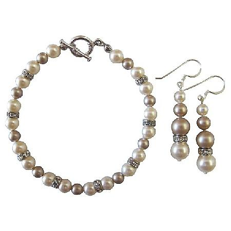 Wedding Bridal Bridesmaid Bracelet & Earrings Ivory & Champagne Pearls