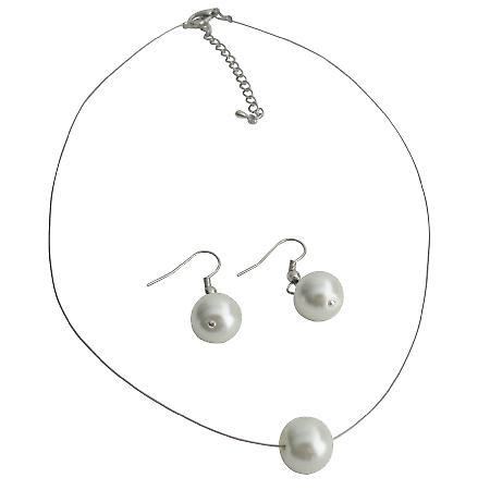 Impressive White Single Pearl Lovely Necklace Earrings Set