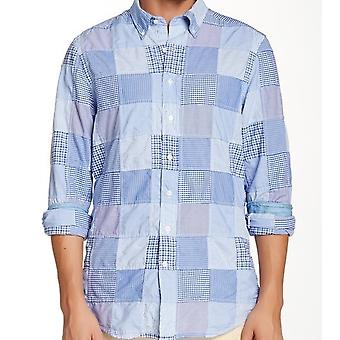 GANT el Mens de Patchwork equipado largo manga camiseta - azul
