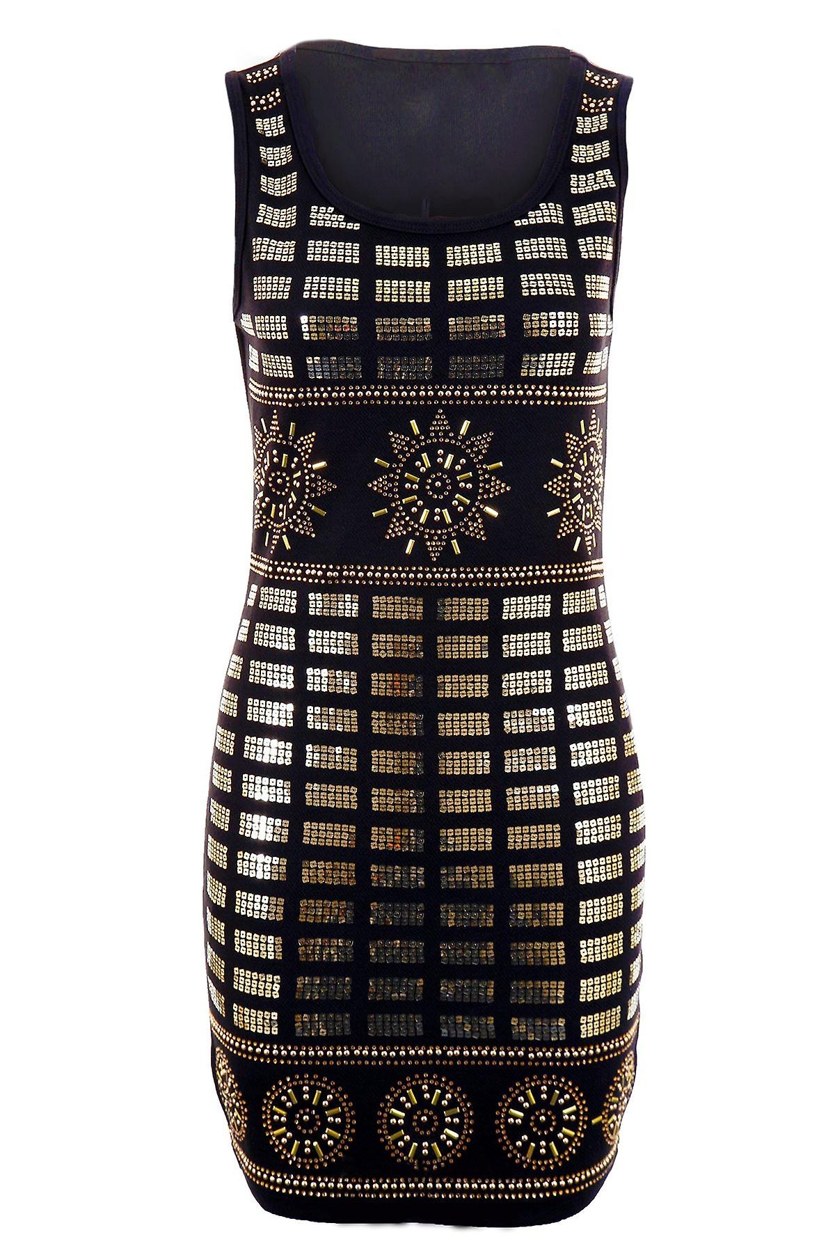 Ladies Gold Sequin Embroidery Studded Stretch Bodycon Women's Party Dress