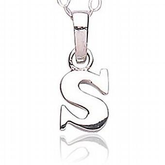 Jo For Girls Sterling Silver Letter S Pendant on 14 Inch Chain