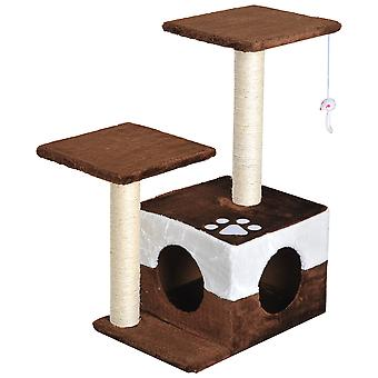 PawHut Cat Tree Scratcher Condo Play House Activity Center Scratching Post House Furniture With Hanging Toy Brown