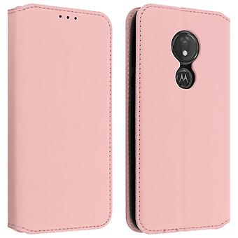 Classic Edition stand case with card slot for Motorola Moto G7 Power - Rose gold