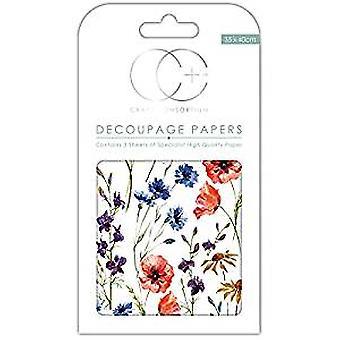 Craft Consortium vilda blommor decoupage papper (CCDECP262)