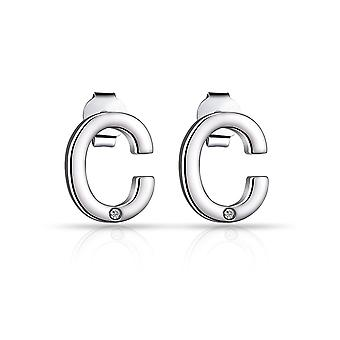 Initial earrings letter c created with swarovski® crystals