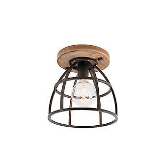 QAZQA Industrial ceiling lamp black with wood - Arthur