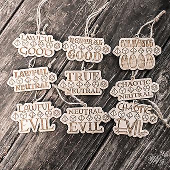 Ornament - know your role - alignment - set of 9 - raw wood 2x4in