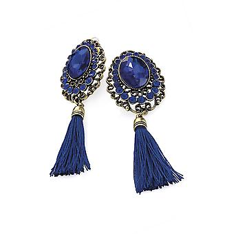 Burnished Royal Blue Bead and Tassel Drop Earrings