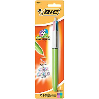 Bic 4 Color Fashion Pen Carded Purple, Pink, Turquoise, Lime Green Amp11c